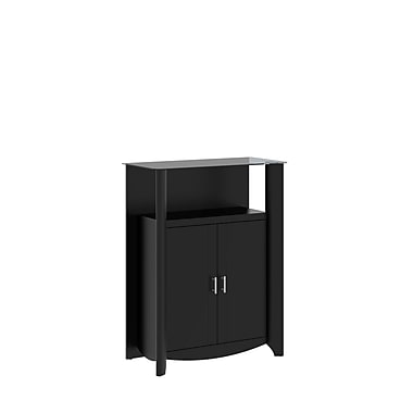 Bush Furniture Aero 2-Door Medium Library Storage, Classic Black