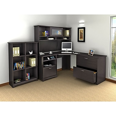 Bush Cabot Corner Desk, Hutch, Lateral File & Bookcase Office Bundle, Espresso Oak