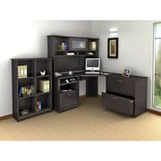 Bush Furniture Cabot Corner Desk with Hutch, Lateral File and 6 Cube Bookcase, Espresso Oak