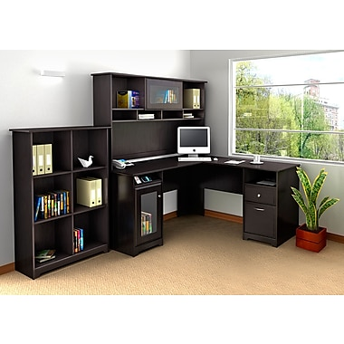 Bush Furniture Cabot L-Desk with Hutch and 6 Cube Bookcase, Espresso Oak