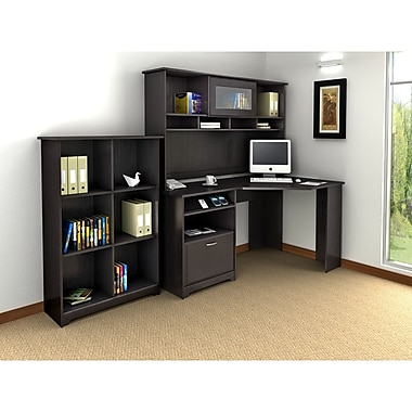 Bush Cabot Corner Desk, Hutch & Bookcase Office Bundle, Espresso Oak