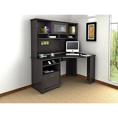 Bush Cabot Corner Desk & Hutch Office Bundle, Espresso Oak