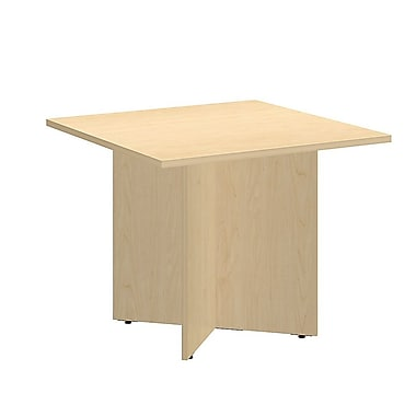 Bush Conference Tables 36in. Square Table with Wood Base, Natural Maple
