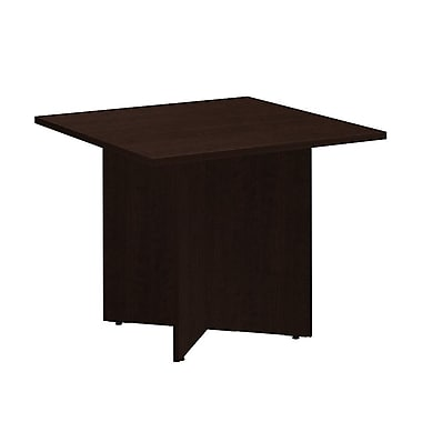 Bush Business 36W Square Conference Table with Wood Base, Mocha Cherry, Installed