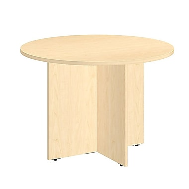 Bush Business 42W Round Conference Table with Wood Base, Natural Maple, Installed