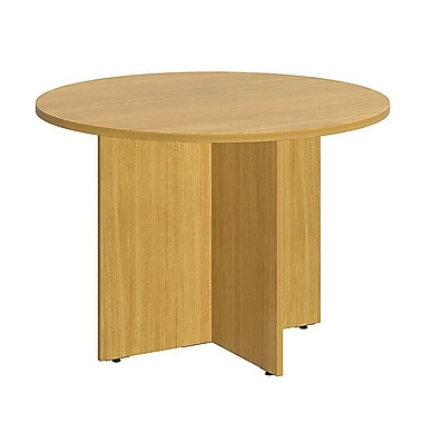 Bush Business 42W Round Conference Table with Wood Base, Modern Cherry
