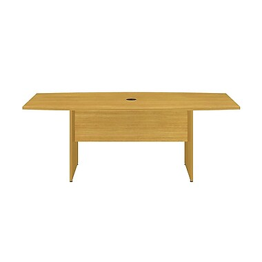 Bush Business 72L x 36W Boat Top Conference Table with Wood Base, Modern Cherry
