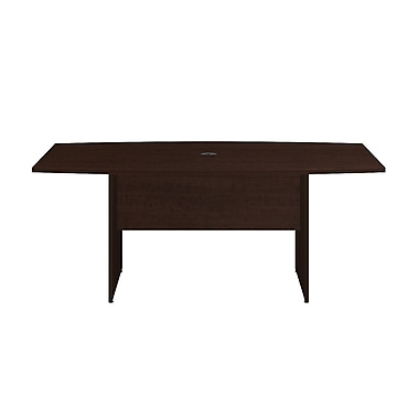 Bush Business 72L x 36W Boat Top Conference Table with Wood Base, Mocha Cherry, Installed