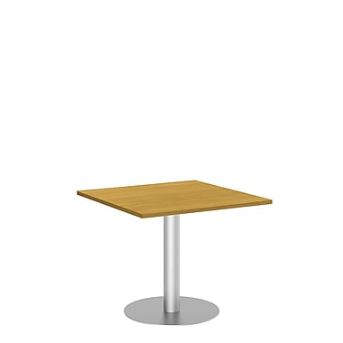 Bush Conference Tables 36in. Square Table with Metal Disc Base, Modern Cherry, Fully Assembled