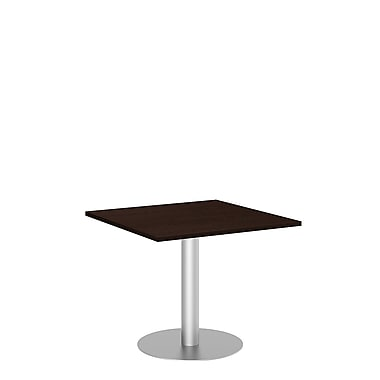 Bush Conference Tables 36in. Square Table with Metal Disc Base, Mocha Cherry, Fully Assembled