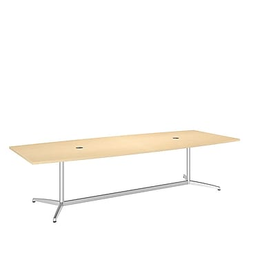 Bush Conference Tables 120in.L x 48in.W Boat Top Table with Metal Base, Natural Maple