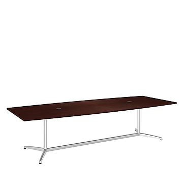 Bush Conference Tables 120in.L x 48in.W Boat Top Table with Metal Base, Harvest Cherry, Fully Assembled