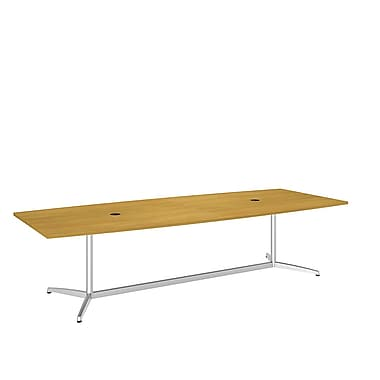 Bush Business 120L x 48W Boat Top Conference Table with Metal Base, Modern Cherry