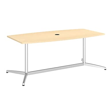 Bush Conference Tables 72in.L x 36in.W Boat Top Table with Metal Base, Natural Maple