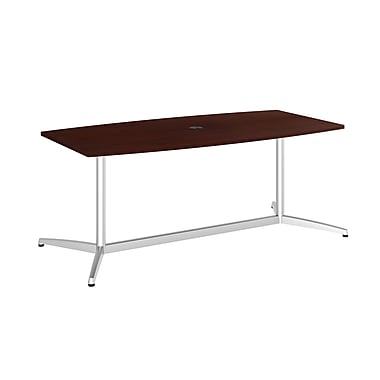 Bush Conf Tables 72in.L x 36in.W Boat Top Conf Table, Metal Base, Harvest Cherry/Silver