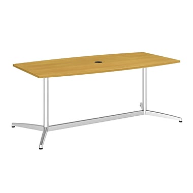 Bush Business 72L x 36W Boat Top Conference Table with Metal Base, Modern Cherry