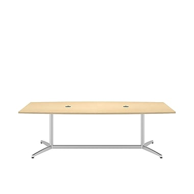 Bush Conf Tables 96in.L x 42in.W Boat Top Conf Table, Metal Base, Natural Maple/Silver
