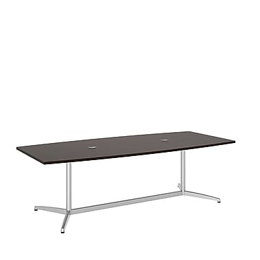 Bush Conference Tables 96in.L x 42in.W Boat Top Table with Metal Base, Mocha Cherry, Fully Assembled