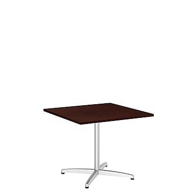 Bush Business 36W Square Conference Table with Metal X Base, Harvest Cherry, Installed