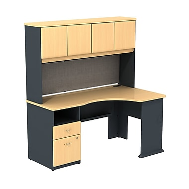 Bush cubix expandable corner desk with 60 w hutch beech slate gray staples - Staples corner storage ...