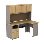 Bush Business Cubix 60W Single Pedestal Corner Desk with Hutch, Danish Oak/Sage