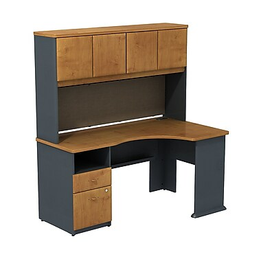 Bush cubix expandable corner desk with 60 w hutch natural cherry slate gray staples - Storage staples corner ...