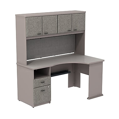 Bush cubix expandable corner desk w 60 w overhead storage staples - Storage staples corner ...