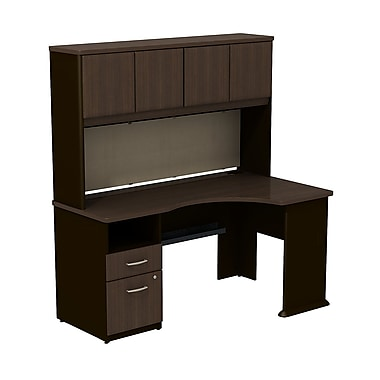 Bush cubix expandable corner desk with 60 w hutch 66 5 x 71 x 36 beech slate gray staples - Storage staples corner ...