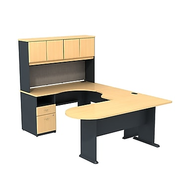 Bush Cubix U-Desk with Expandable Corner Desk, Bridge & Peninsula Desk, Beech/Slate Gray