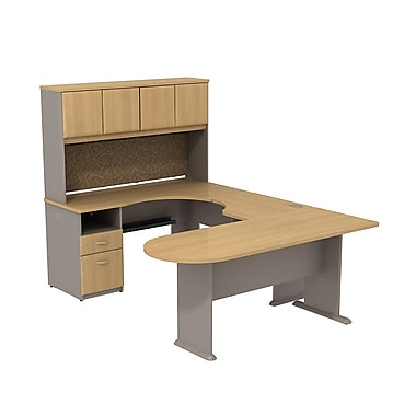 Bush Cubix U-Desk with Expandable Corner Desk, Bridge & Peninsula Desk, Light Oak/Sage