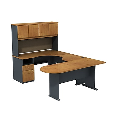 Bush Cubix U-Desk with Expandable Corner Desk, Bridge & Peninsula Desk, Natural Cherry/Slate Gray