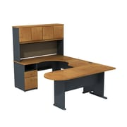 Bush Business Cubix 60W Corner Desk in U-Config with Bridge, Peninsula and Hutch, Natural Cherry/Slate