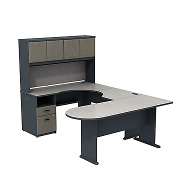 Bush – Bureau en U Cubix avec bureau de coin à possibilité d'extension, bureau péninsule et pont, gris ardoise et spectre blanc
