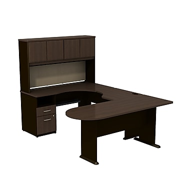 Bush Cubix U-Desk w/ Expandable Corner Desk, Bridge & Peninsula Desk - Cappuccino Cherry/Hazelnut Brown