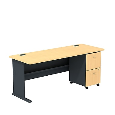 Bush Cubix 72in.W Desk w/ 3 Dwr Mobile Ped (B/B/F) - Euro Beech/Slate Gray