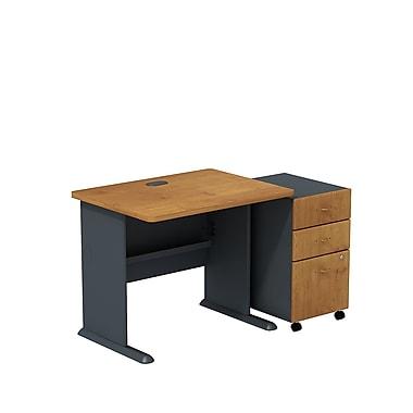 BushMD – Ensemble bureau 36 po et classeur sur roulettes à 3 tiroirs, collection Cubix, fini cerisier naturel/ardoise