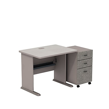 Bush Cubix 36in.W Desk w/ 3 Dwr Mobile Ped (B/B/F) - Pewter/White Spectrum