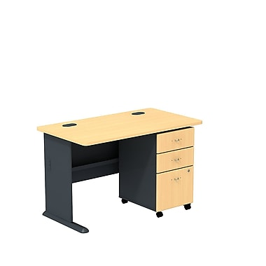 Bush Business Cubix 48W Desk with 3-Drawer Mobile Pedestal, Euro Beech/Slate