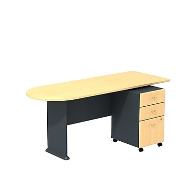Bush Cubix 72in.W Peninsula Desk w/ 3 Dwr Mobile Ped (B/B/F) - Euro Beech/Slate Gray