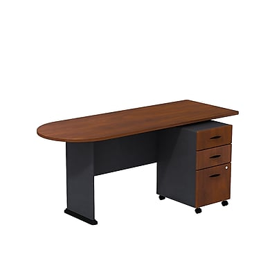 Bush Cubix 72in.W Peninsula Desk w/ 3 Dwr Mobile Ped (B/B/F) -Hansen Cherry/Galaxy
