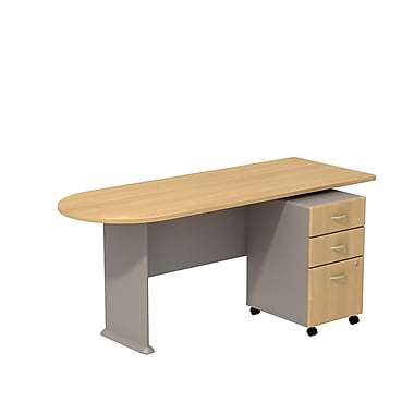 Bush Cubix 72in.W Peninsula Desk w/ 3 Dwr Mobile Ped (B/B/F) - Light Oak/Sage