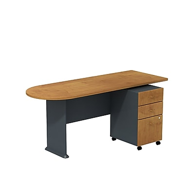 Bush Cubix 72in.W Peninsula Desk w/ 3 Dwr Mobile Ped (B/B/F) - Natural Cherry/Slate Gray