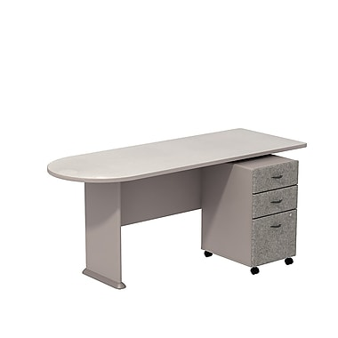 Bush Cubix Peninsula Desk with 3-Dwr Mobile Ped, Pewter