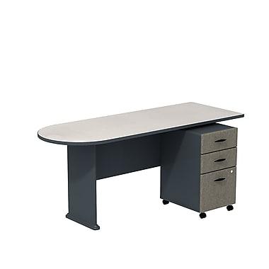 Bush – Ensemble bureau péninsule de 72 po et classeur sur roulettes à 3 tiroirs, collection Cubix, ardoise/spectre blanc