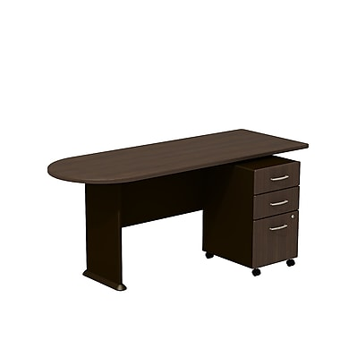 Bush Cubix 72in.W Peninsula Desk w/ 3 Dwr Mobile Ped (B/B/F) - Cappuccino Cherry/Hazelnut Brown