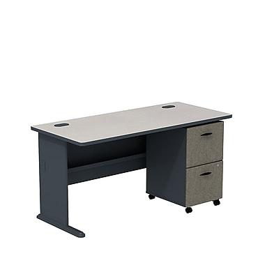 Bush – Ensemble bureau de 60 po et classeur sur roulettes à 2 tiroirs, collection Cubix, fini gris ardoise/spectre blanc