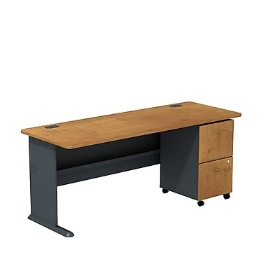 Bush Cubix 72in.W Desk with 2-Dwr Mobile Ped, Natural Cherry