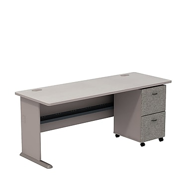 Bush Cubix 72in.W Desk w/ 2 Dwr Mobile Ped (F/F) - Pewter/White Spectrum