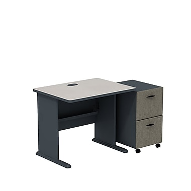 Bush Cubix 36in.W Desk w/ 2 Dwr Mobile Ped (F/F) - Slate Gray/White Spectrum