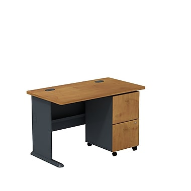 Bush Cubix 48in.W Desk w/ 2 Dwr Mobile Ped (F/F) - Natural Cherry/Slate Gray